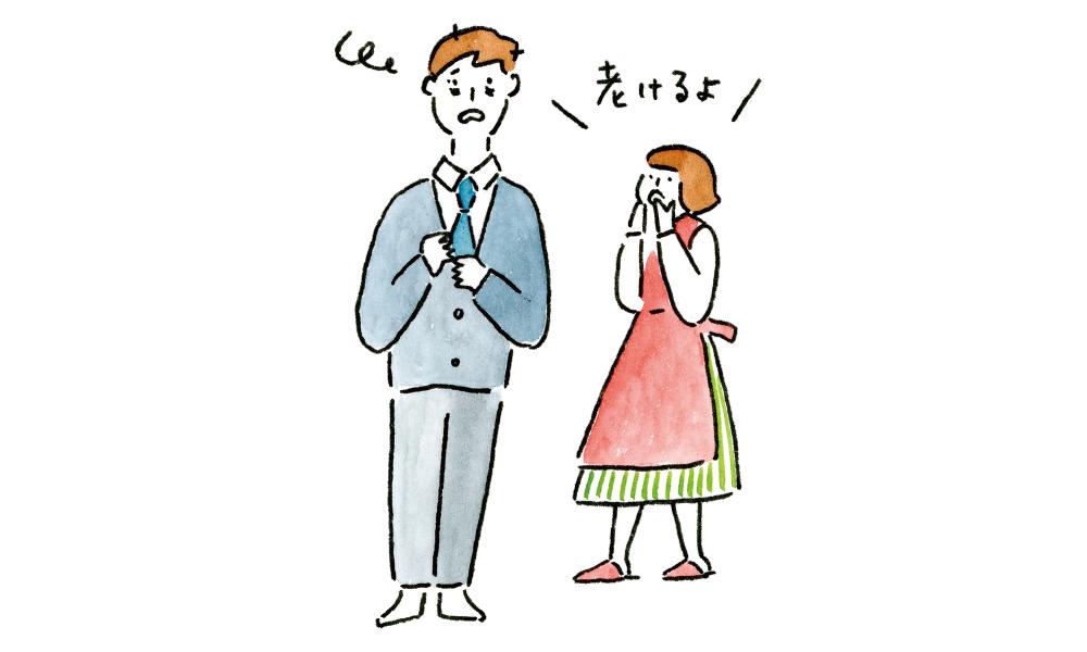 睡眠不足の男性と心配する女性のイラスト