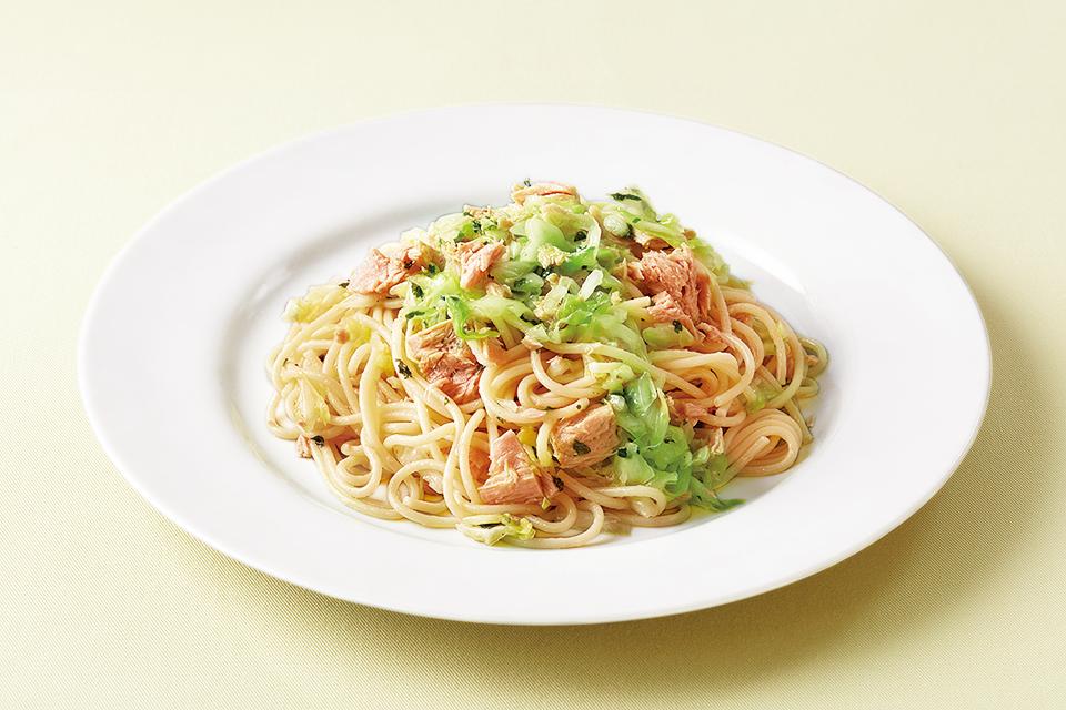 缶詰と常備菜の時短レシピ。ツナとキャベツの和風パスタ
