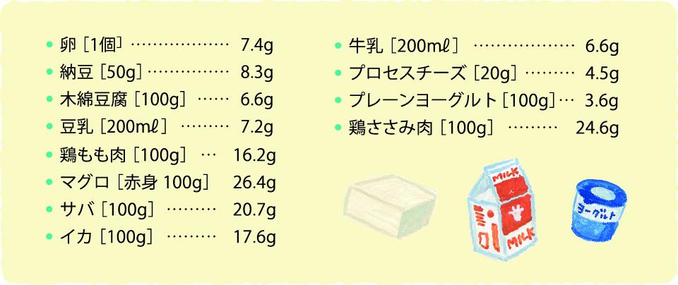 タンパク質の量一覧