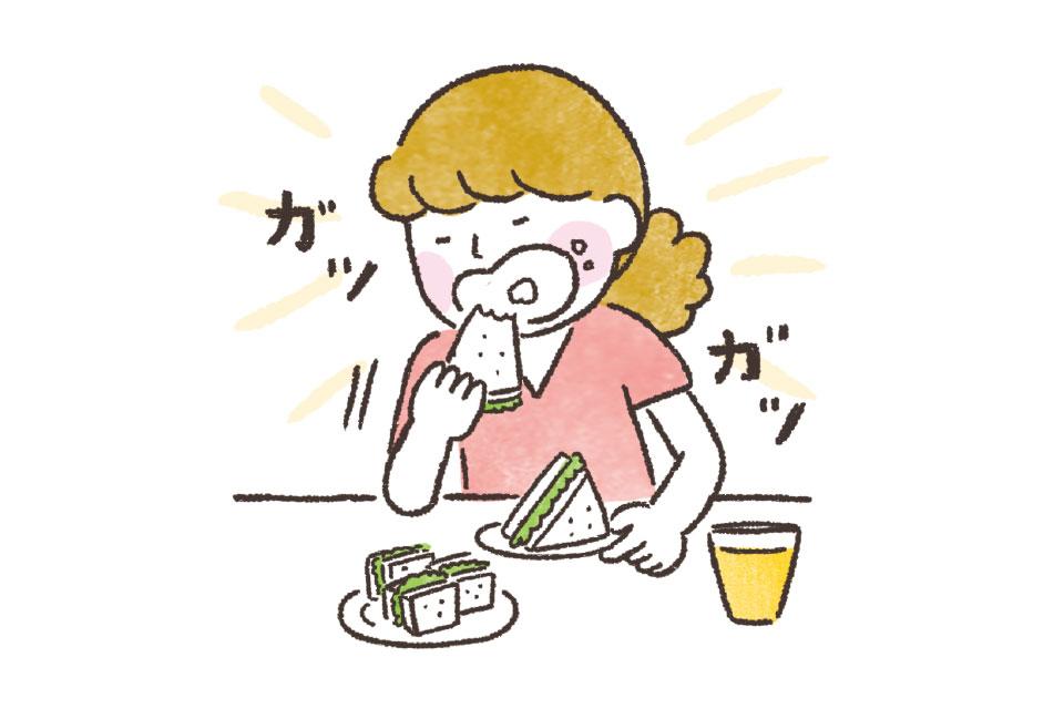早食いする女性のイラスト