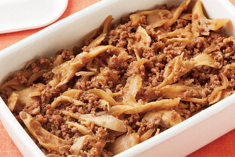 牛ひき肉と舞茸のしぐれ煮