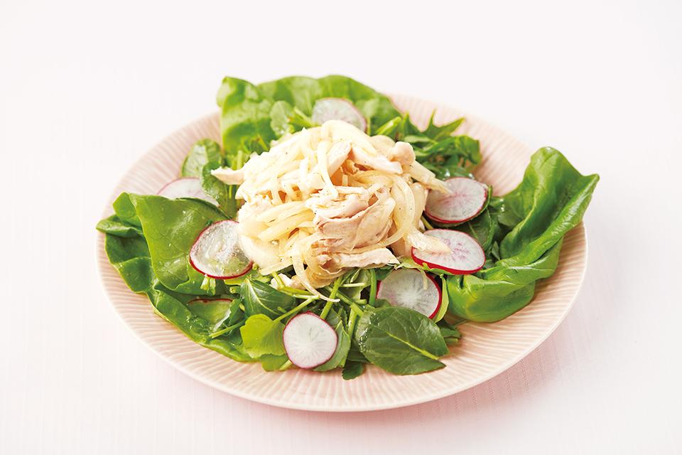 春野菜の酢玉ねぎ和えの写真