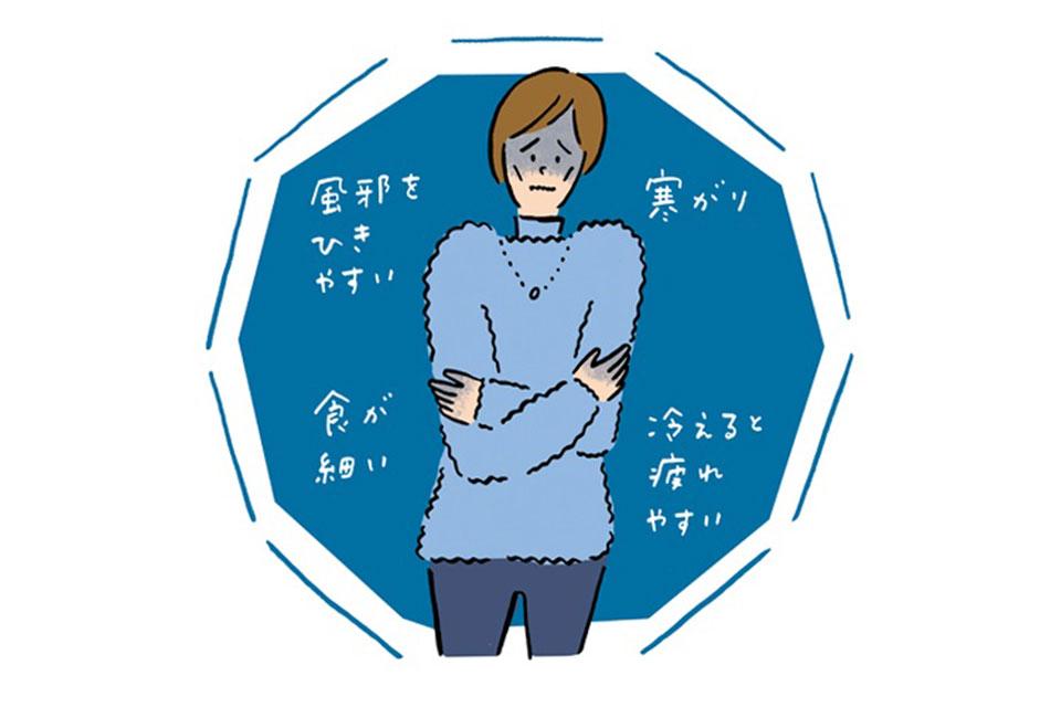 筋肉量が少ないタイプの冷え症の女性のイラスト