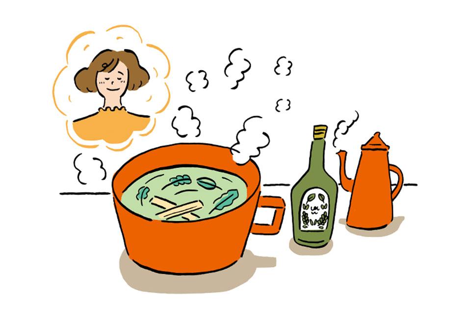熱湯に薬酒を入れているイラスト