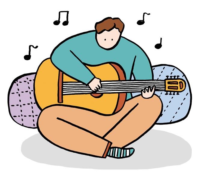 ギターの練習をしているA君のイラスト
