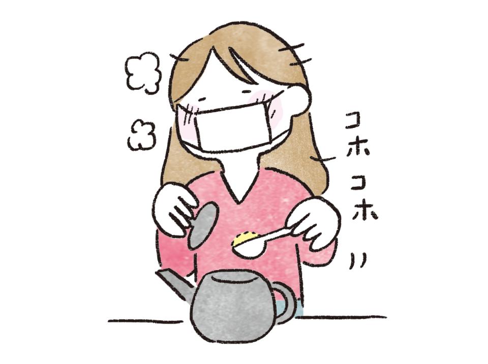 葛根茶を作っているイラスト