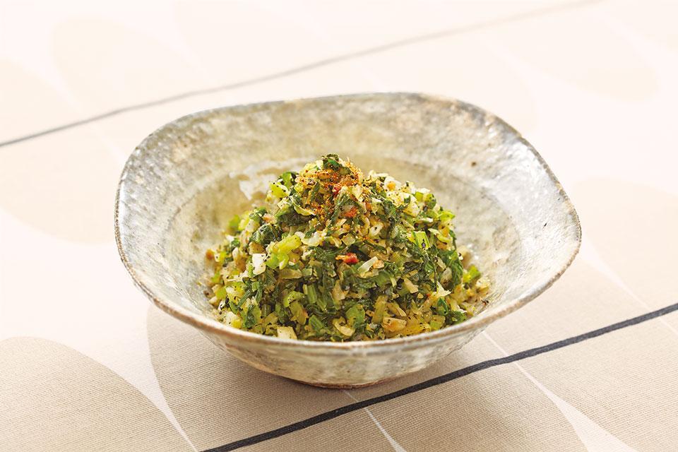 小松菜とキャベツの七味和え