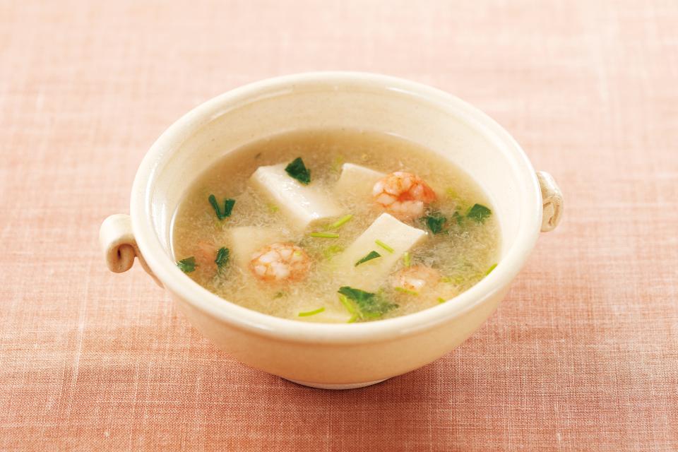 エビと高野豆腐のみぞれスープ