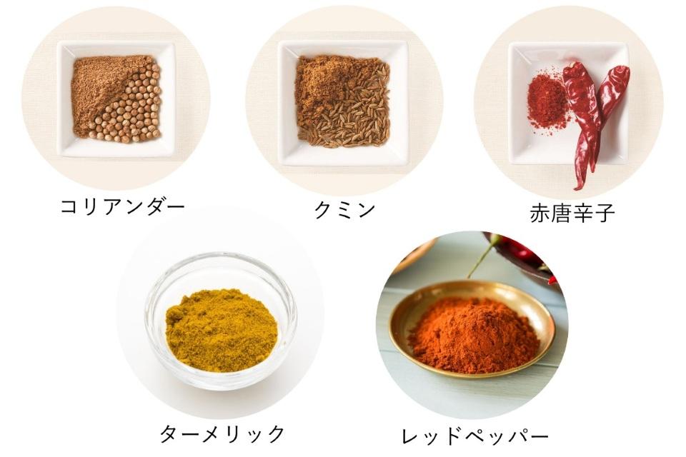 夏野菜の薬膳カレーに使用するスパイス一覧