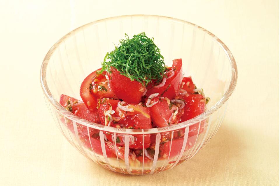 トマトとじゃこの香味野菜和え